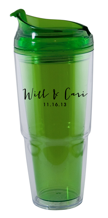 22 oz. Dual green Travel Tumbler