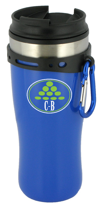 16 oz edge travel mug with carbiner clip - blue
