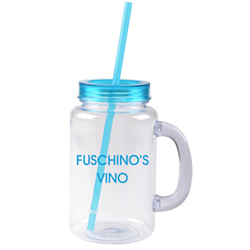 20 oz aqua mason jar with lid and straw