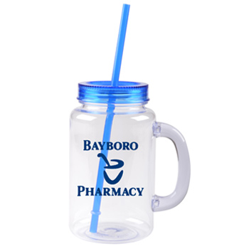 20 oz blue mason jar with lid and straw