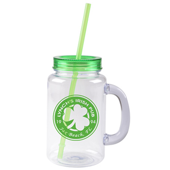 20 oz green mason jar with lid and straw