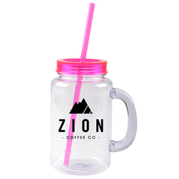 20 oz magenta mason jar with lid and straw