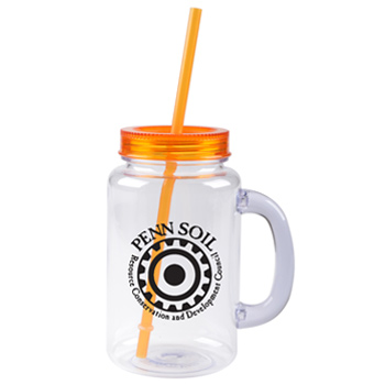 20 oz orange mason jar with lid and straw