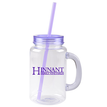 20 oz purple mason jar with lid and straw