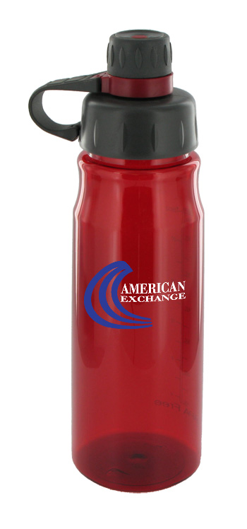 28 oz oasis poly sports water bottle - red