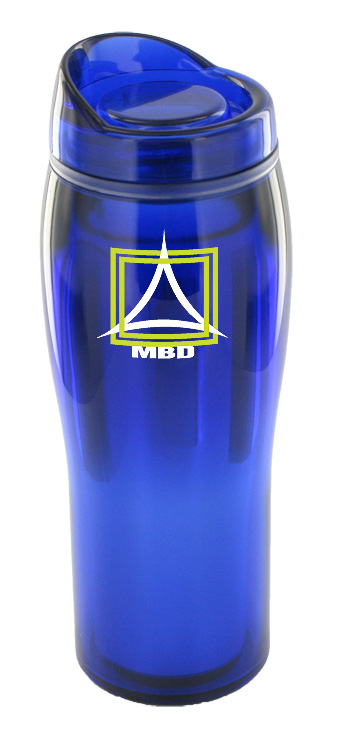 14 oz optima chrome travel mug - blue - Free Shipping