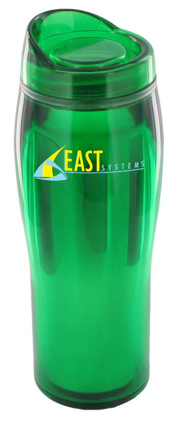 14 oz optima chrome travel mug - green