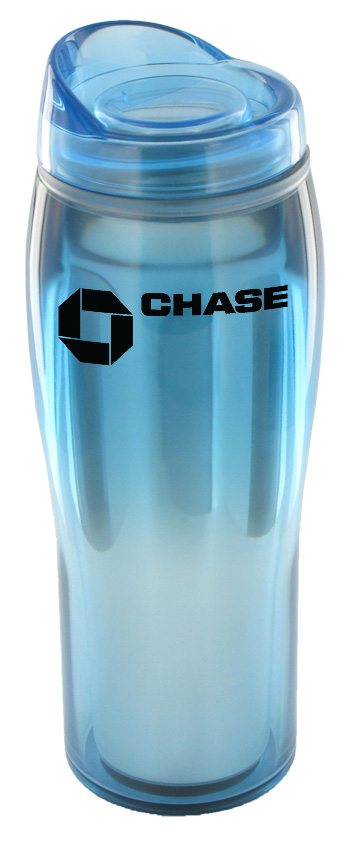 14 oz optima chrome travel mug - light blue