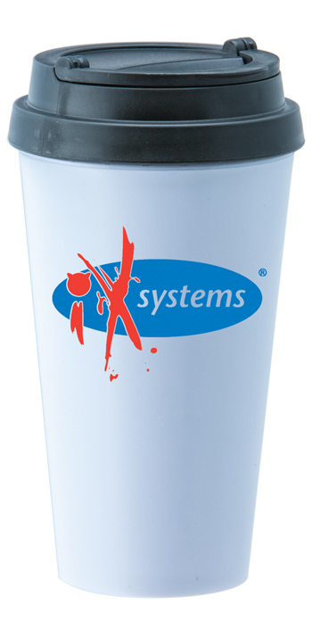 14 oz. Double Wall Sedici travel mug w/black lid