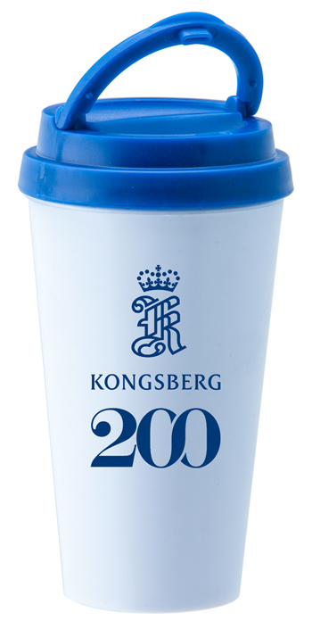 14 oz. Double Wall Sedici travel mug w/blue lid