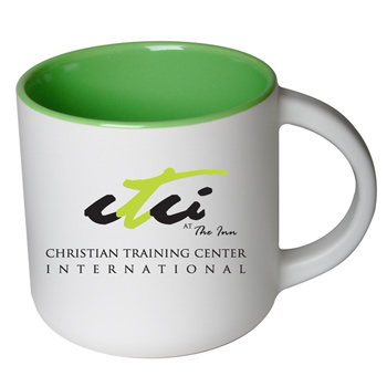 14 oz Sedona Promotional Mug - Matte White Out/Gloss Green In