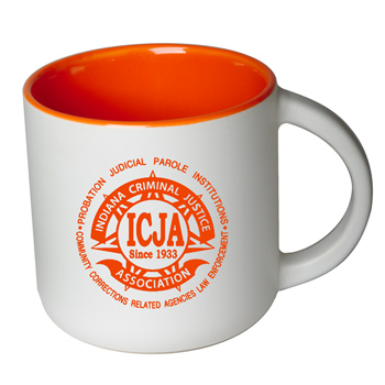 14 oz Sedona Mug - Matte White Out/Gloss Orange In