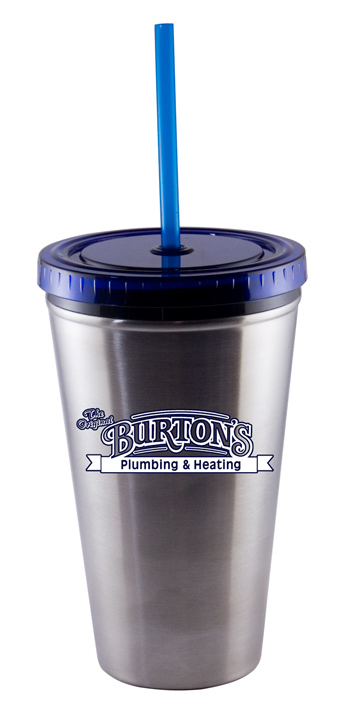 16 oz Blue Promotional Stainless Steel Journey travel cup