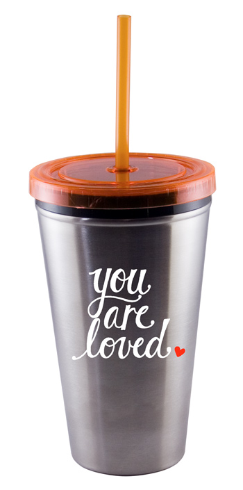 16 oz Orange Custom Stainless Steel Journey travel cup