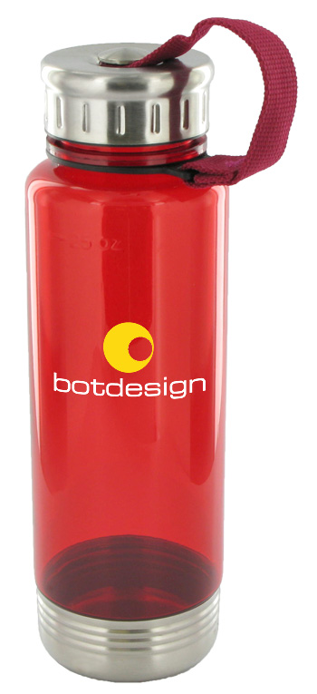 24 oz venture sports water bottle - red
