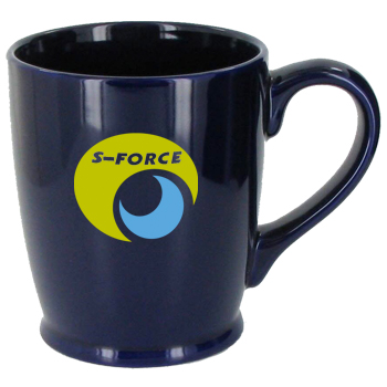 16 oz glossy kinzua coffee mugs - cobalt blue