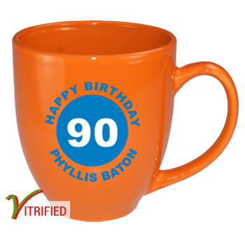 15 oz glossy vitrified bistro coffee mugs - california orange