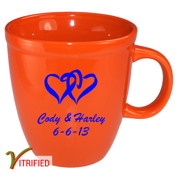 17 oz glossy vitrified mocha coffee mugs - california orange