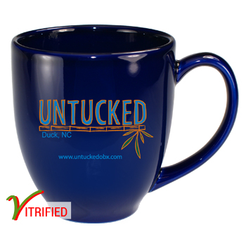 15 oz glossy vitrified cancun bistro coffee mugs - Cobalt Blue