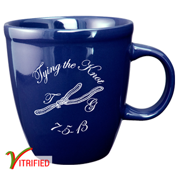 17 oz glossy vitrified mocha coffee mugs - cobalt blue