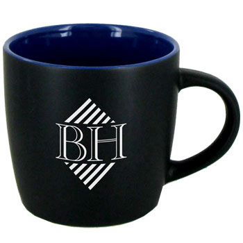 12 oz Effect Two Tone Designer Matte Black Out/Ocean Blue In Mug