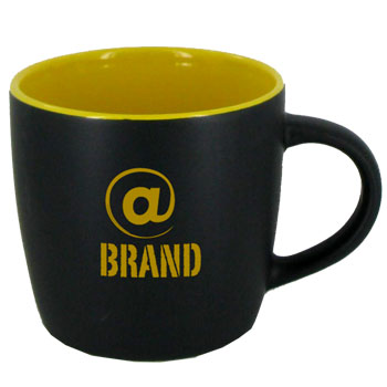 12 oz Effect Two Tone Designer Black Out/Yellow In Mug