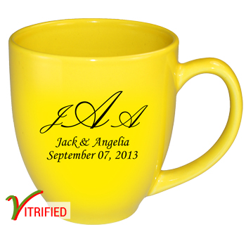 15 oz vitrified bistro mugs - Lemon Yellow - Free Shipping