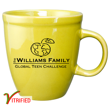 17 oz glossy vitrified mocha coffee mugs - Lemon Yellow