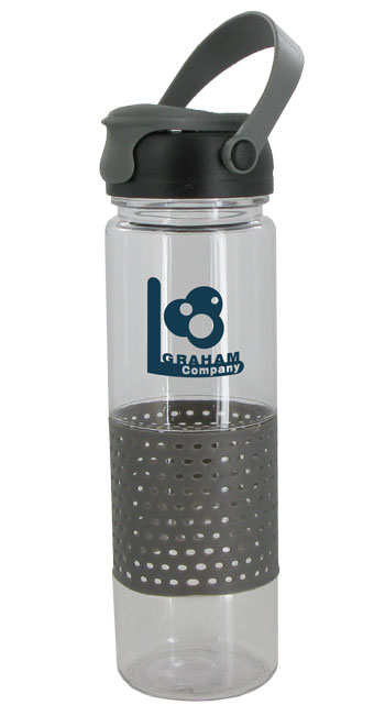 24 oz Gray Sport w/Rubber Perforated Sleeve - BPA Free