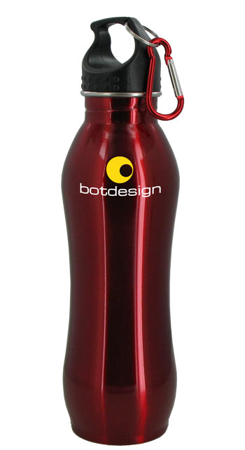 24 oz Red Summit Stainless Steel Bottle w/Carabiner