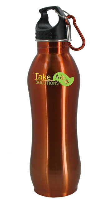 24 oz Amber Summit Stainless Steel Bottle w/Carabiner